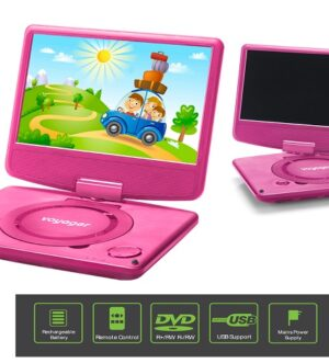 Voyager 9″ Pink Portable DVD  Player with Swivel Screen  VYCDVD9