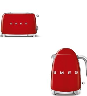 Smeg Kettle & 4 Slice Toaster Bundle Red