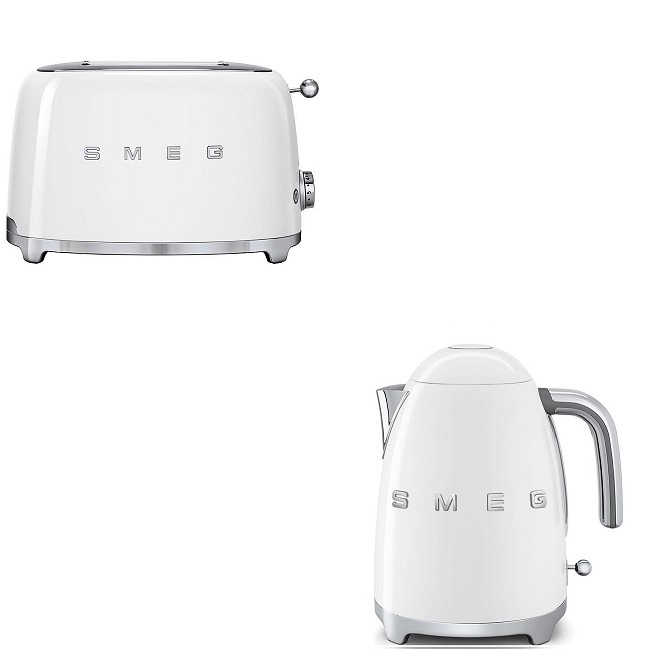 Smeg White Retro Kettle And 2 Slice Toaster Bundle