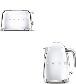 Smeg Polished Steel Retro Kettle and 2 Slice Toaster Bundle