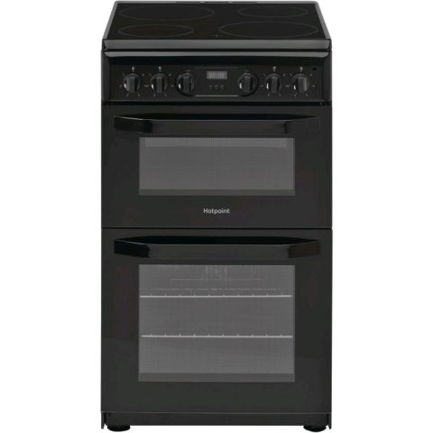 Hotpoint Black Electric Double Oven Cooker HD5V93CCB
