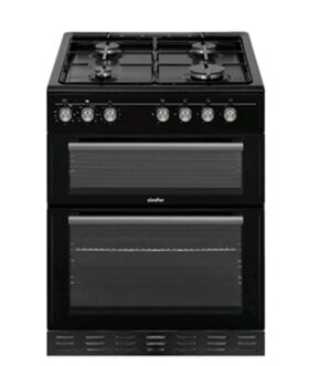 Simfer 60cm Dual Fuel Black  Cooker -Double Electric Oven & Grill with LPG Gas Hob SIM62DFLPGBL