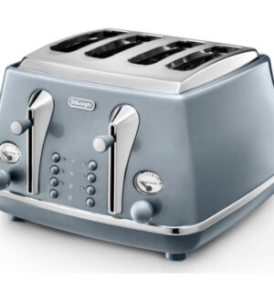 Delonghi Icona Metallics 4 Slice Toaster | Blue | CTOT4003.AZ