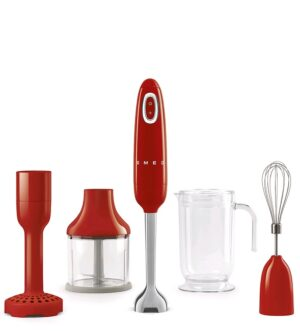 Smeg 50's Retro Style Red Hand Blender with Accessories, HBF02RDUK