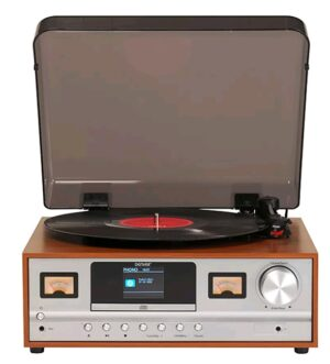Denver Retro Music System | Turntable CD Player FM Radio Bluetooth |  MRD-52LIGHTWOOD