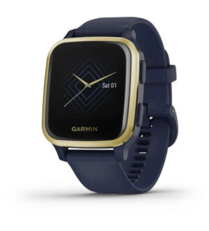 Garmin Venu Sq Music Edition Light Gold Bezel with Navy Case & Silicone Band | 010-02426-12
